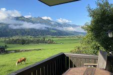 Aussicht auf Berge und grasende Kühe vom Balkon vom Mountain View apartment in Kaprun in Österreich an einem sonnigen Tag